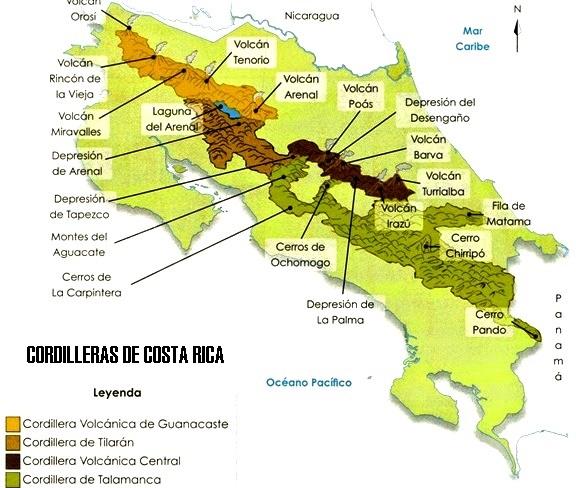 Mapa de cordilleras de Costa Rica