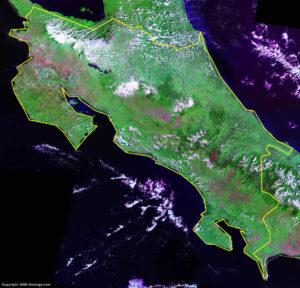 Mapa satelital de Costa Rica
